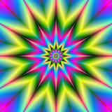 Stars are Stars / A star patterned fractal image with repeating colors of pink, blue, yellow and green. - 99734104