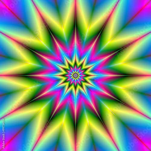 Fototapeta Stars are Stars / A star patterned fractal image with repeating colors of pink, blue, yellow and green.