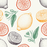 Vector seamless pattern with ink hand drawn lemon fruit, flowers, slice and leaves sketch. Vintage citrus background in pastel colors