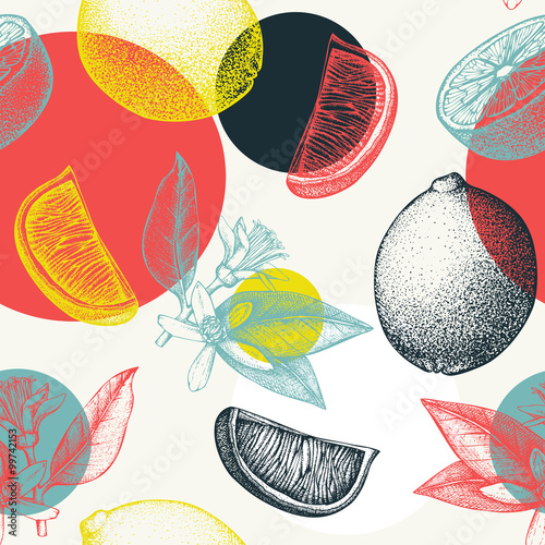 Vector seamless pattern with ink hand drawn lime fruit, flowers, slice and leaves sketch. Vintage citrus background in pastel colors - 99742153