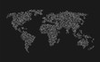 world map of white squares on black background