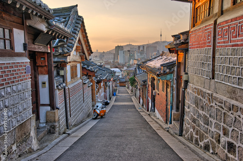 Poster Bukchon Hanok Village in Seoul, South Korea