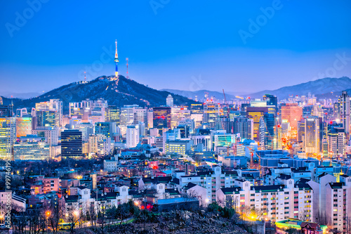 Seoul cityscape at twilight in South Korea Poster