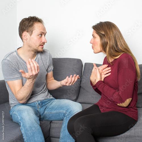 Leinwanddruck Bild Ein Paar streitet sich