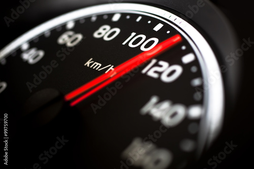Poster Close up of car speed meter