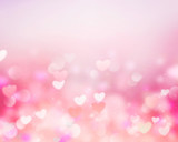 Valentine background pink blur hearts empty space.