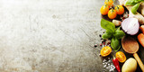 Fototapety Wooden spoon and fresh organic vegetables on old background