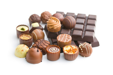 various chocolate pralines and chocolate bar
