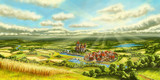 Fototapety Landschaft Mittelalter Siedlung