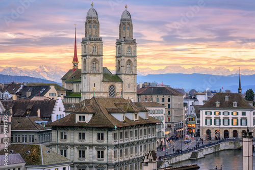 Zurich city center with snow covered Alps mountains in backgroun © Boris Stroujko