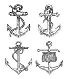 Vintage anchor graphic on white background. Hand drawn vector