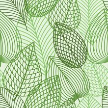Naadloos patroon van de lente outline reen bladeren