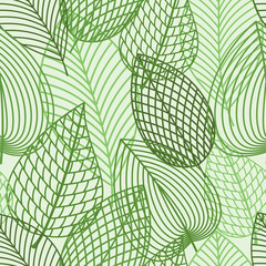 Seamless pattern of spring outline reen leaves