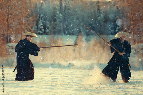Fototapeta monk warrior snow landscape