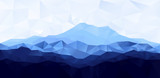 Fototapety Triangle low poly polygon geometrical background with blue mountain