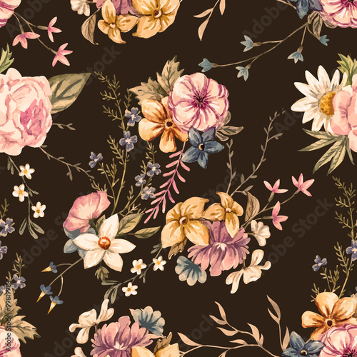 Vector watercolor floral pattern - 99819988
