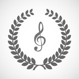 Isolated laurel wreath icon with a g clef