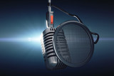 Fototapety Old style microphone at blue background