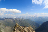 Panorama view with mountain Großglockner and glaciers in Hohe Tauern Alps, Austria