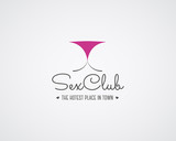 Cute vector Sex club logo and badge design template. Sexy label. Vector xxx elements. Adult store symbol, icon - lingerie. Use for brochures, facades, window signage, emblems etc.