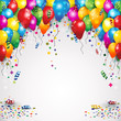 Obrazy na płótnie, fototapety, zdjęcia, fotoobrazy drukowane : Balloons and confetti for parties birthday with space to insert your text-transparency blending effects and   gradient mesh-EPS10