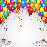 Balloons and confetti for parties birthday with space to insert your text-transparency blending effects and 