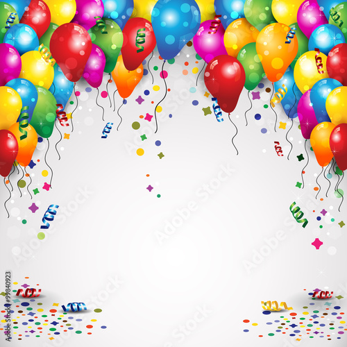 Balloons and confetti for parties birthday with space to insert your text-transparency blending effects andgradient mesh-EPS10
