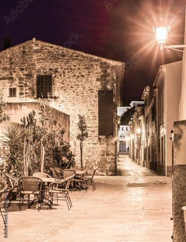 Fototapeta View of a old town place at night