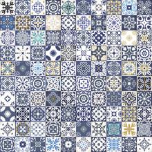 Gorgeous kwiatowy wzór patchwork. Kolorowe marokańskie lub śródziemnomorskie kwadratowych płytek, plemienne ozdoby. Do druku tapety, wzór wypełnienia tła strony internetowej, tekstur powierzchniowych. Indigo niebieski biały turkusowy