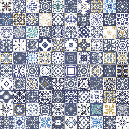 Gorgeous floral patchwork design. Colorful Moroccan or Mediterranean square tiles, tribal ornaments. For wallpaper print, pattern fills, web background, surface textures.  Indigo blue white teal