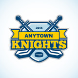 Ice hockey knights team logo.