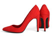 Elegant red suede high-heeled shoeson white
