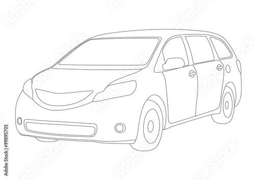 u0026quot mini van line drawing illustration  vector u0026quot  arkivbilder
