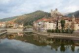 Fototapety View of Dolceacqua medieval village on Nervia river
