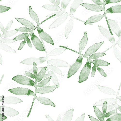 Branches. Watercolor background. Seamless pattern 1 © Gribanessa