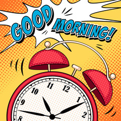 Comic illustration with alarm clock in pop art style