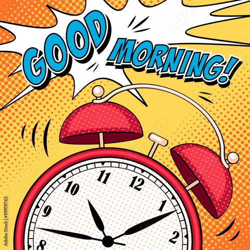 Aluminium Pop Art Comic illustration with alarm clock in pop art style