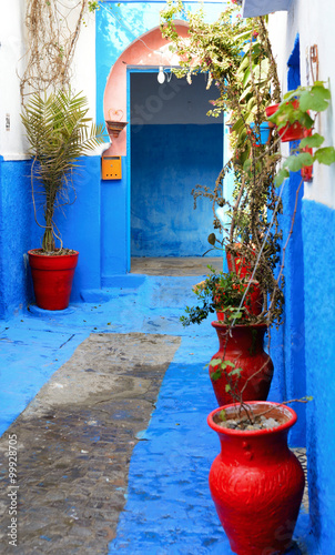 Fototapeta Rabat, Morocco - December 26, 2015: Big red flower jars at the streets of Kasbah of the Udayas in Rabat.