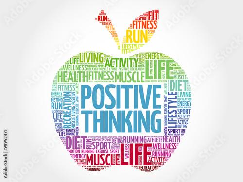 Naklejka Positive thinking apple word cloud, health concept