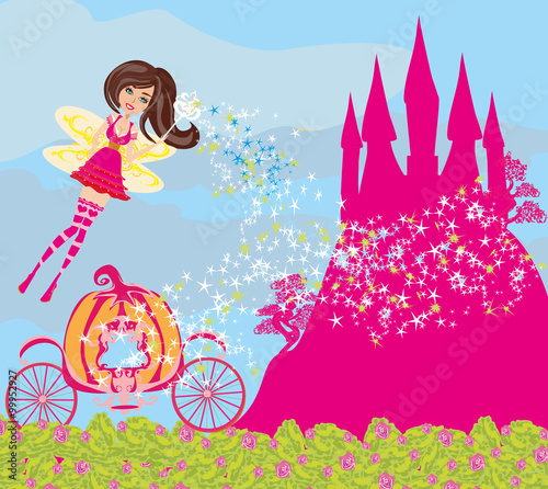Fotobehang Roze beautiful fairytale pink castle