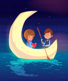 Couple sitting in a boat on the lake. Vector cute illustration.