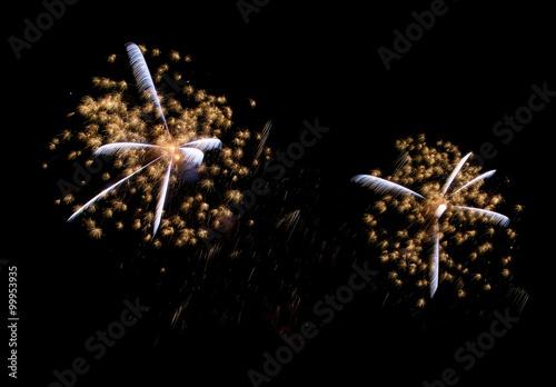 Poster Golden orange amazing fireworks background, fireworks festival, fireworks in Ven