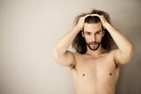 Handsome shirtless man