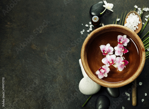 Spa background with floating flowers Poster