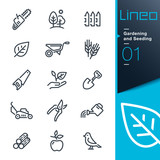 Fototapety Lineo - Gardening and Seeding line icons