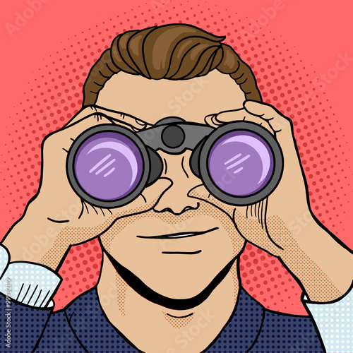 obraz lub plakat Businessman looks through binocular pop art vector