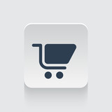 Flat black Shopping Cart icon on rounded square web button