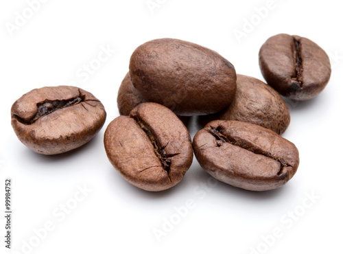 roasted coffee beans isolated in white background cutout Poster