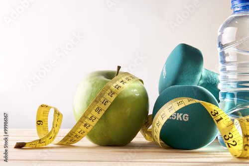 Lifestyle health diet and sports isolated background front view