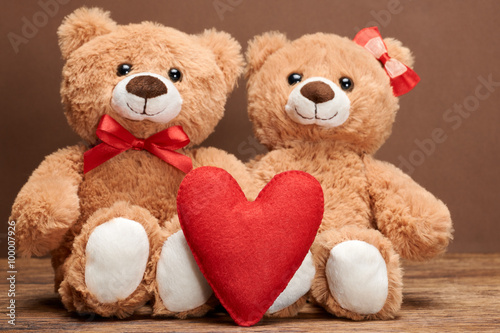 fototapeta na ścianę Valentines Day. Love red heart.Couple Teddy Bears